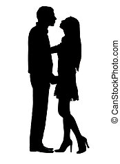 stuck on couple - silhouettes of stuck on couple under the...