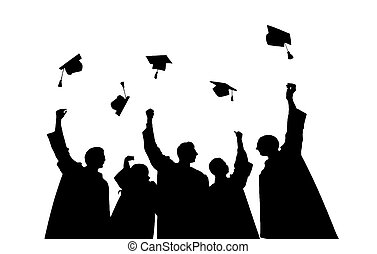 silhouettes of students throwing mortarboards
