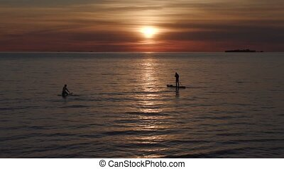 silhouettes of surfers with oars at sunset.