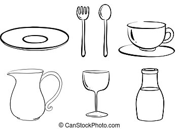 Silhouettes of tablewares