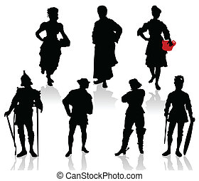 Silhouettes of the actors in theatrical costumes.