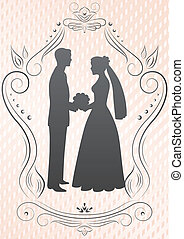 Silhouettes of the bride and groom in a frame on a pink...