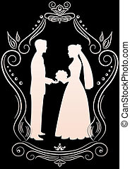 Silhouettes of the bride and groom in a frame on a dark...