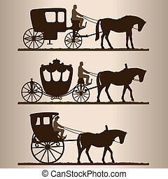 Silhouettes of horse-drawn carriages with riders. Two-wheeled and four-wheel carriage. Vector illustration.