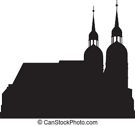 Silhouettes of the church