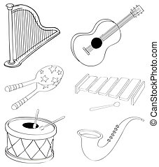 Silhouettes of the different kinds of musical instruments