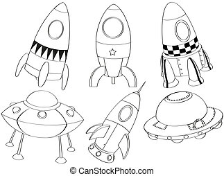 Silhouettes of the different spaceships - Illustration of ...