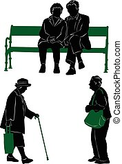 Silhouettes of the elderly to walk and rest
