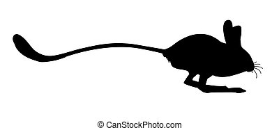 silhouettes of the jerboa  on white background