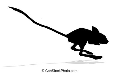 silhouettes of the jerboa on white