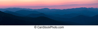 Silhouettes of the mountains at dawn