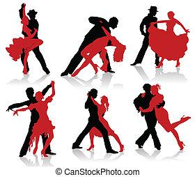 Silhouettes of the pairs dancing ballroom dances. Tango,...