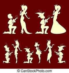 silhouettes of the Prince and Princess set