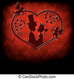 silhouettes of the Prince and Princess with cupids