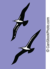 silhouettes of the sea birds on background blue sky