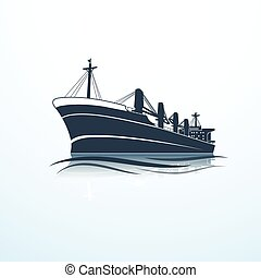 silhouettes of the sea cargo ship