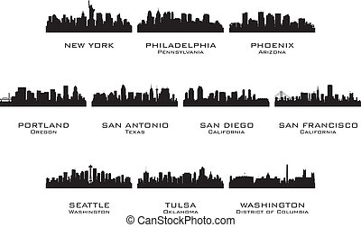 Silhouettes of the USA cities 3. Vector illustration.