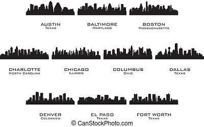 Silhouettes of the USA cities_1. Vector illustration.