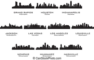 Silhouettes of the USA cities_2. Vector illustration.