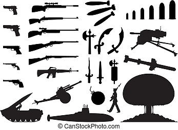 Silhouettes of the various weapon and engineering. A vector illustration