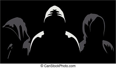 Silhouettes of three anonymous - Illustration of three...