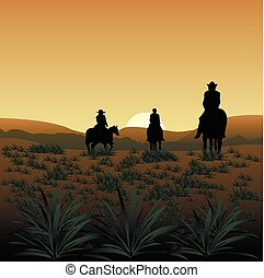 cowboys - silhouettes of three cowboys on sunset background