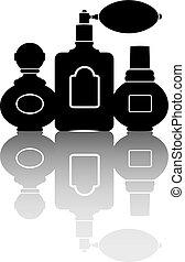 Silhouettes of three perfumes. Vector illustration.