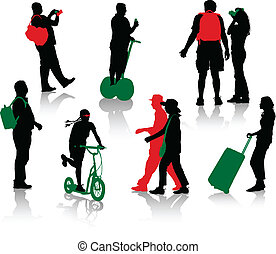 Silhouettes of tourists in different situation.