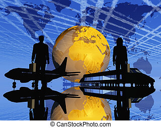 Silhouettes of transportation in front of the Earth