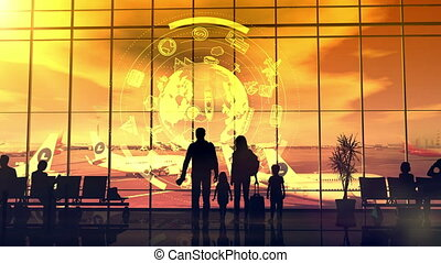 Silhouettes of travelers at the airport at sunset.