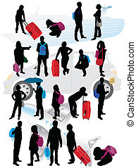 Silhouettes of traveling people