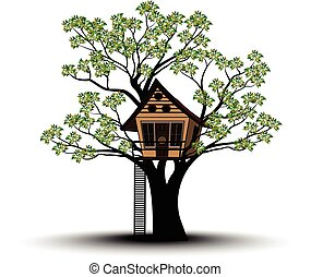 Silhouettes of Tree and House