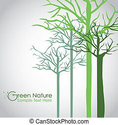 Silhouettes of tree trunk in green, vector illustration