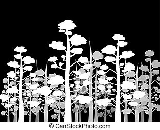 silhouettes of trees on black background.