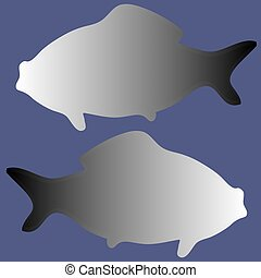 silhouettes of two fishes