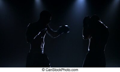 Silhouettes of two men in boxing gloves in studio conditions