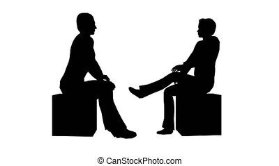 Silhouettes of two people sitting and talking on a white