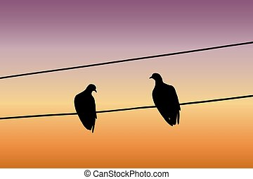 Silhouettes of two pigeons sitting on a wire against the sunset sky