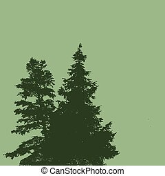 Silhouettes of two pine trees on a green background with...