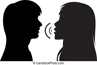 vector silhouettes of two young women. One is talking to the other.