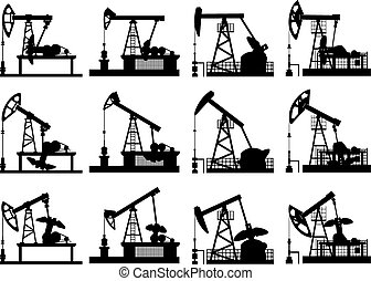 Silhouettes of units for oil pump. - Set silhouettes of...