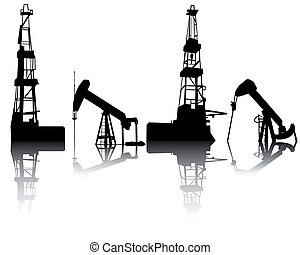 Silhouettes of units for oil recovery on a white background