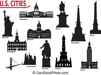 Silhouettes of U.S. cities - Most Famous Buildings U.S....