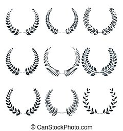 silhouettes of various laurel wreaths vector flat icons