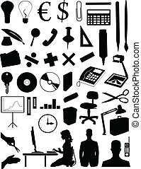 Silhouettes of various office subjects and people