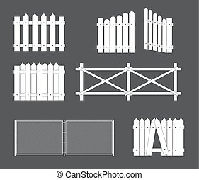 Silhouettes of various types of fence, gate of wood, metal. Vector Illustration
