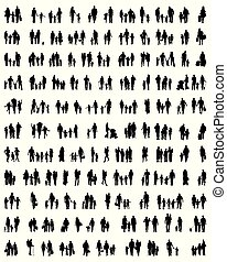 Silhouettes of  walking