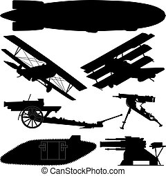 Silhouettes of weapons from World War I (Great War)