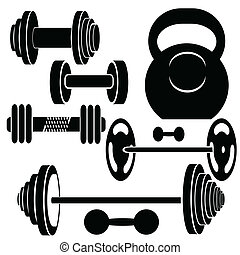 silhouettes of weights - colorful illustration with...