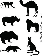silhouettes of wild animals